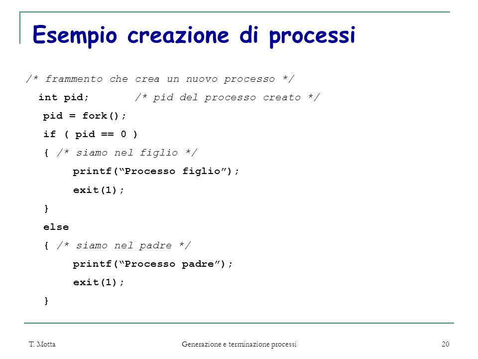 T. Motta Generazione e terminazione processi 20 Esempio creazione di processi /* frammento che crea un nuovo processo */ int pid; /* pid del processo