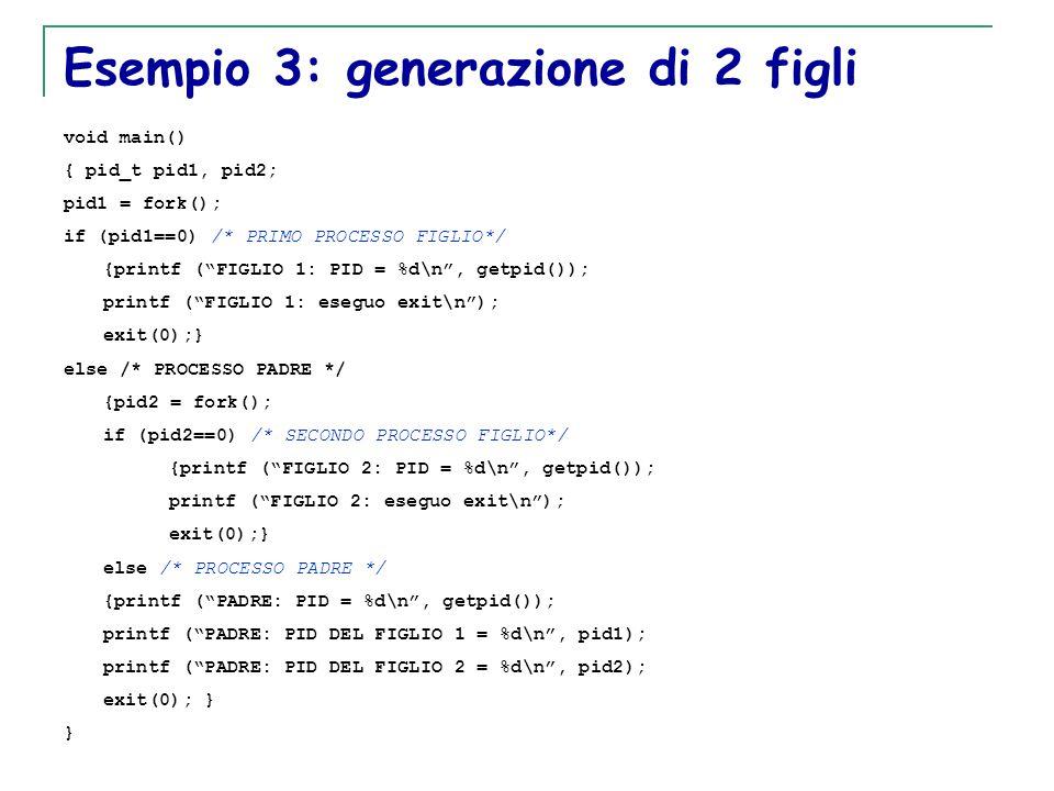 T. Motta Generazione e terminazione processi 26 Esempio 3: generazione di 2 figli void main() { pid_t pid1, pid2; pid1 = fork(); if (pid1==0) /* PRIMO