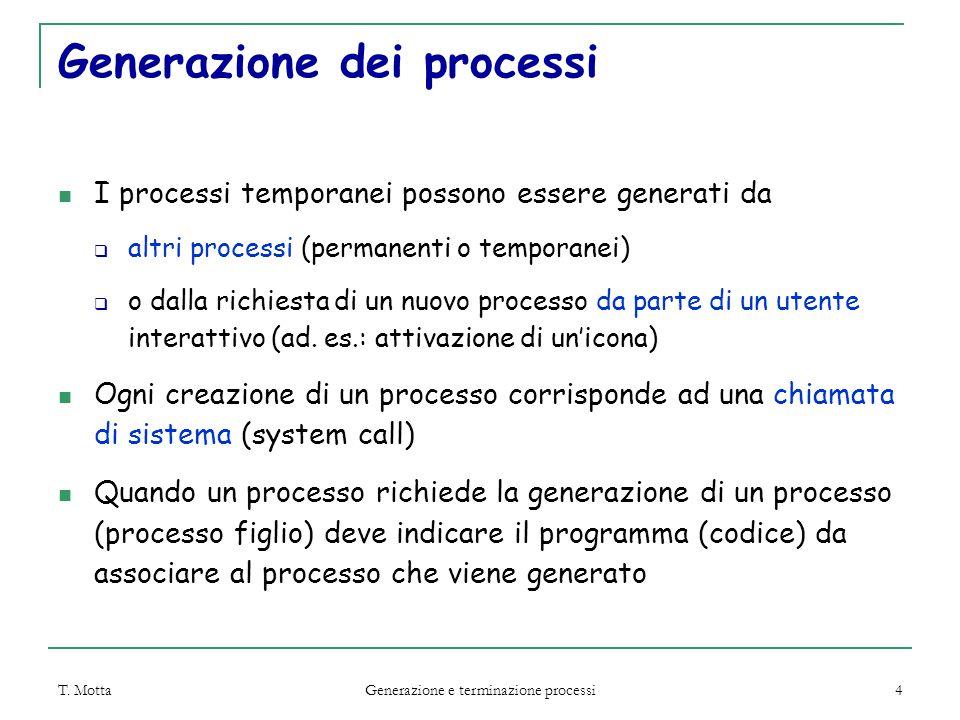 T. Motta Generazione e terminazione processi 4 Generazione dei processi I processi temporanei possono essere generati da  altri processi (permanenti