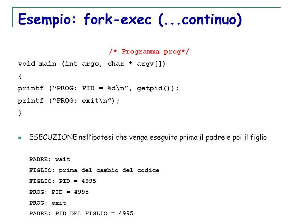 """T. Motta Generazione e terminazione processi 41 Esempio: fork-exec (...continuo) /* Programma prog*/ void main (int argc, char * argv[]) { printf (""""PR"""