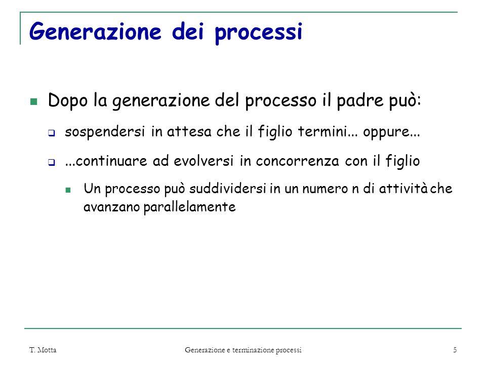 T. Motta Generazione e terminazione processi 5 Generazione dei processi Dopo la generazione del processo il padre può:  sospendersi in attesa che il