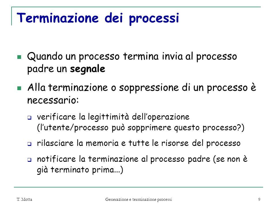 T. Motta Generazione e terminazione processi 9 Terminazione dei processi Quando un processo termina invia al processo padre un segnale Alla terminazio