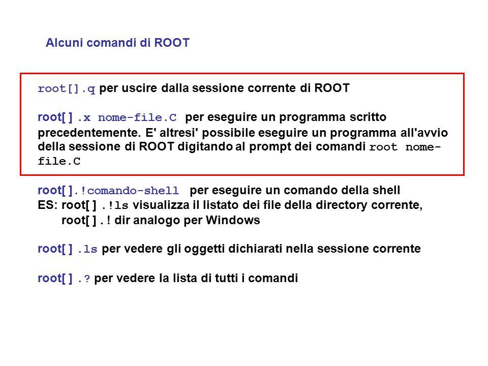 Alcuni comandi di ROOT root[].q per uscire dalla sessione corrente di ROOT root[ ].x nome-file.C per eseguire un programma scritto precedentemente. E'