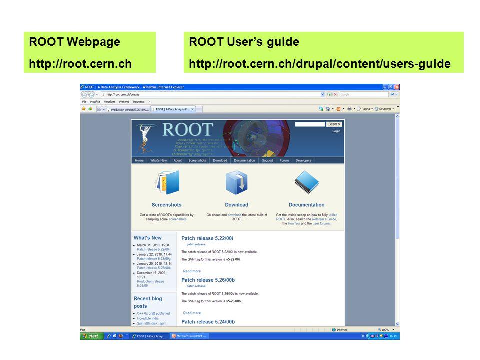 Installazione: Pro version 5.32/00 Windows 7/Vista/XP/NT/2000 supported http://root.cern.ch/drupal/content/production-version-532