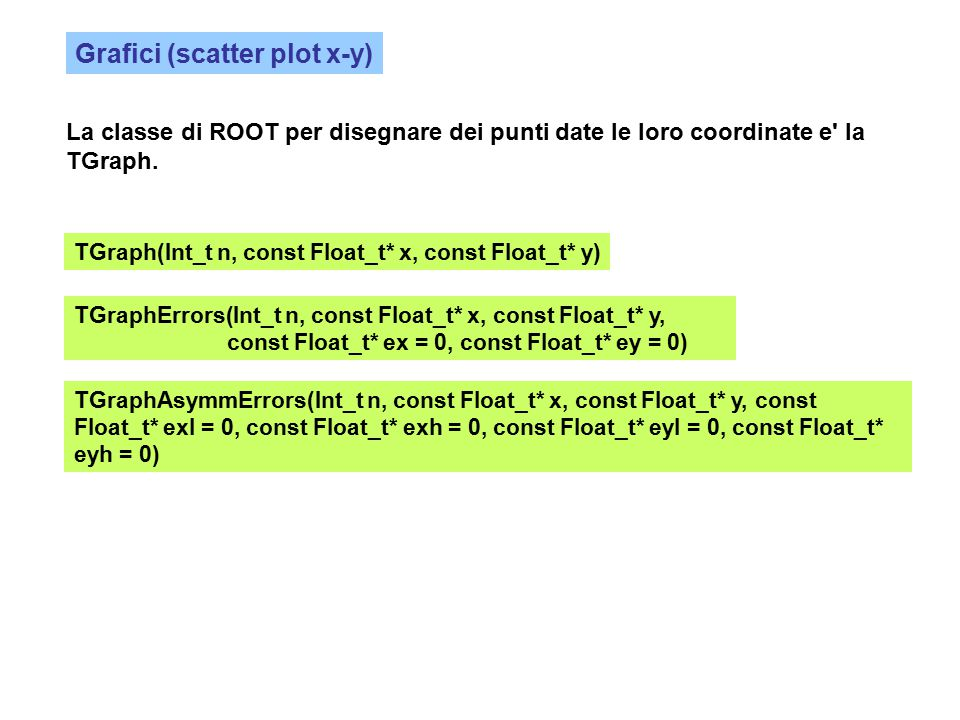 Grafici (scatter plot x-y) La classe di ROOT per disegnare dei punti date le loro coordinate e la TGraph.