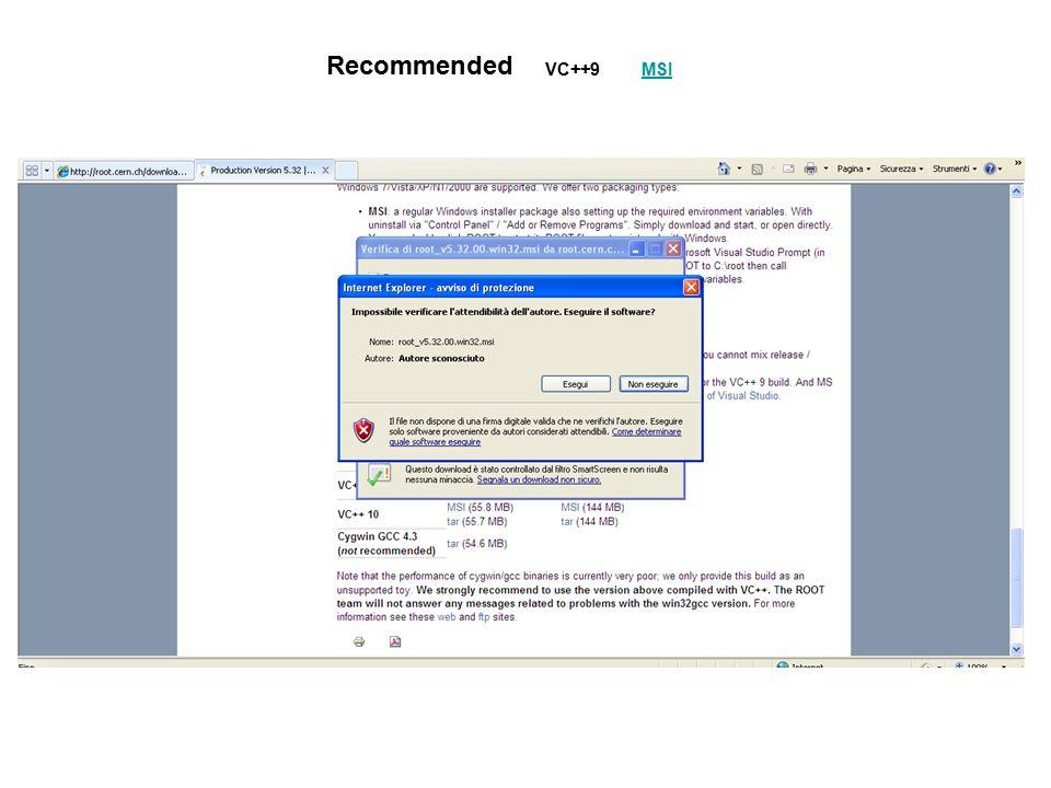 Windows - Icona sul desktop MACRO nella cartella C:\root\macros\ File in/out nella cartella C:\root\ - Prompt di comandi MS-DOS Posizionarsi nella cartella di lavoro con l'istruzione: cd path Aprire un sessione di root digitando: root