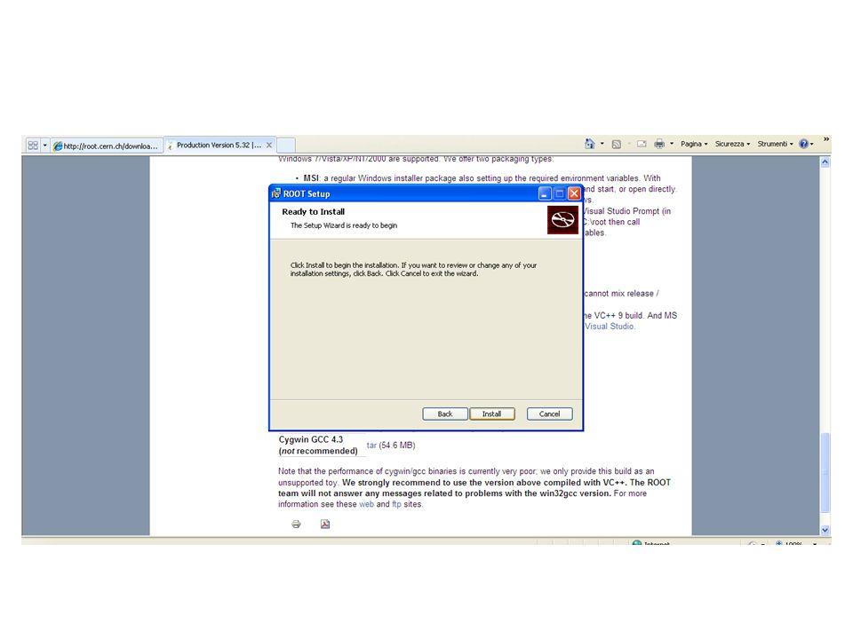 Linux - Precompiled Binaries: Scegliere il file in base al proprio sistema operativo - Source: più veloce da scaricare, ma da compilare e linkare Guida per l'installazione: http://root.cern.ch/download/doc/28InstallandBuild.pdf