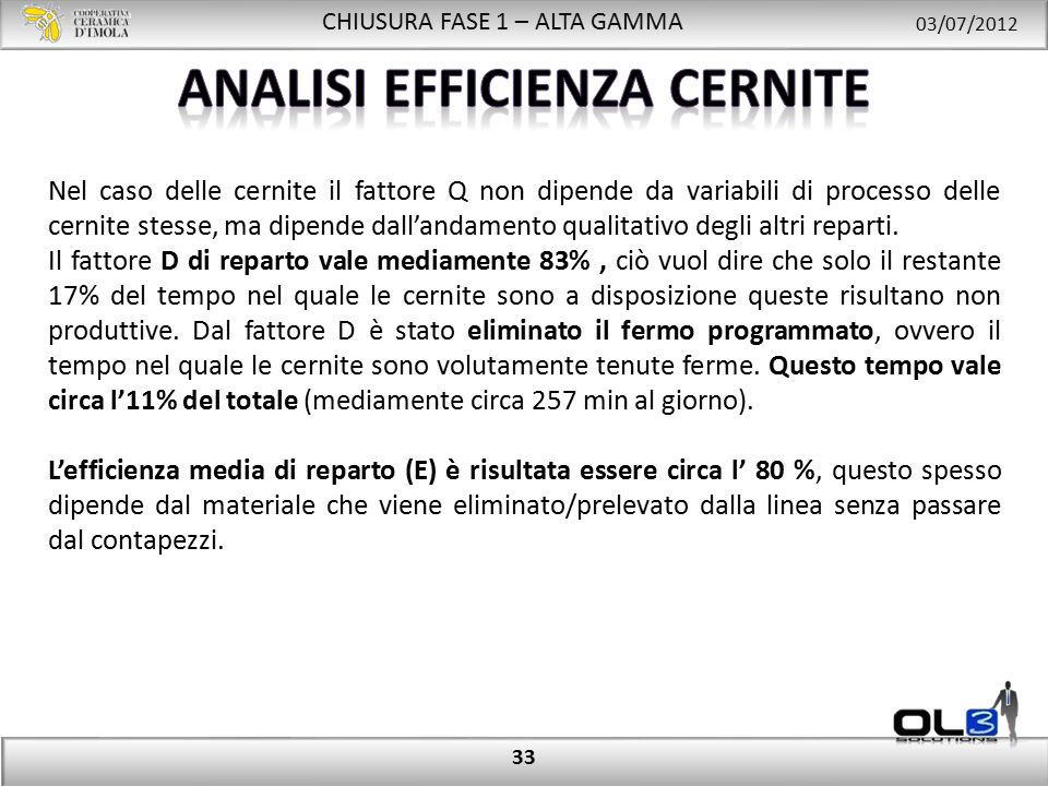 CHIUSURA FASE 1 – ALTA GAMMA 03/07/2012 33 Nel caso delle cernite il fattore Q non dipende da variabili di processo delle cernite stesse, ma dipende dall'andamento qualitativo degli altri reparti.