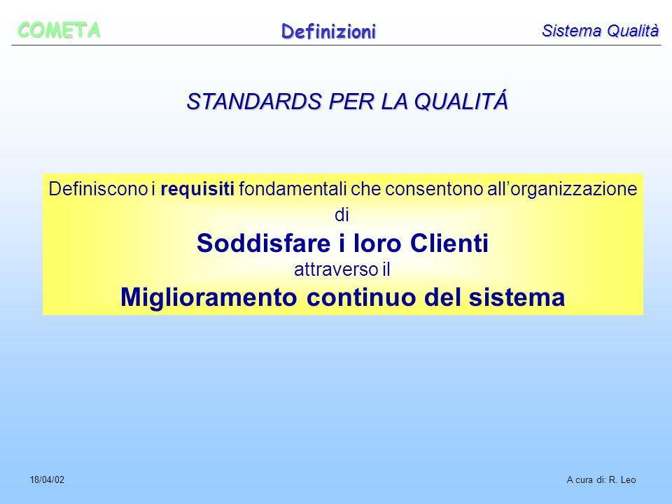 STANDARDS PER LA QUALITÁ Definiscono i requisiti fondamentali che consentono all'organizzazione di Soddisfare i loro Clienti attraverso il Miglioramento continuo del sistema A cura di: R.