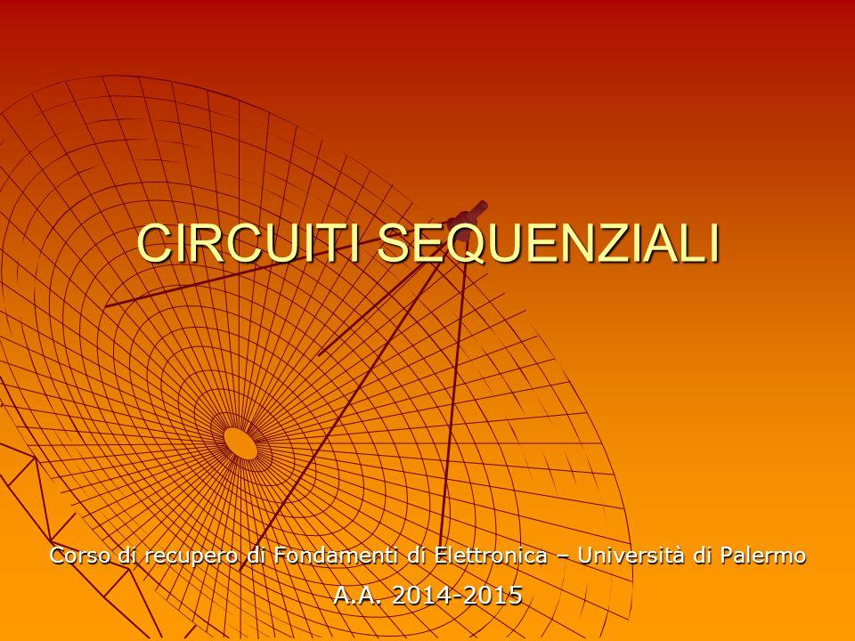 CIRCUITI SEQUENZIALI Corso di recupero di Fondamenti di Elettronica – Università di Palermo A.A. 2014-2015