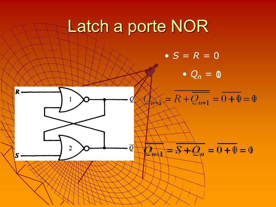 Latch a porte NOR S = R = 0 Q n = 0 1