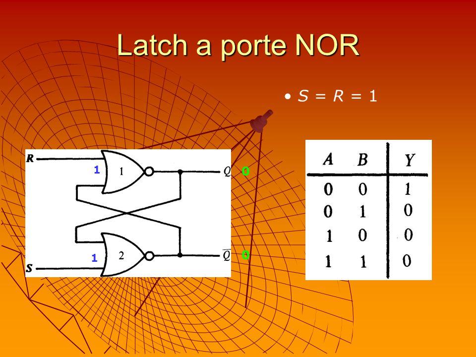 Latch a porte NOR S = R = 1 1 1 0 0
