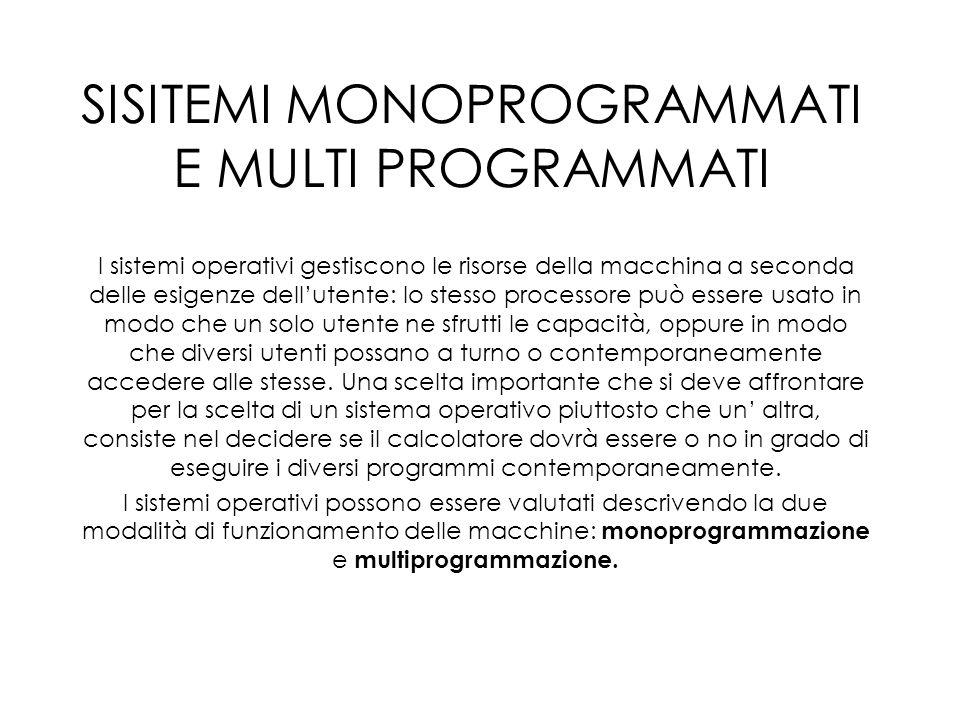 Un sistema viene detto monoprogrammato quando in un dato istante, la sua memoria centrale contiene codice utente proveniente da un unico programma.