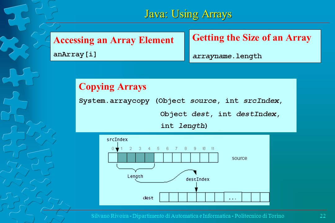 Java: Using Arrays Silvano Rivoira - Dipartimento di Automatica e Informatica - Politecnico di Torino22 Copying Arrays System.arraycopy (Object source, int srcIndex, Object dest, int destIndex, int length) Getting the Size of an Array arrayname.length Accessing an Array Element anArray[i] source