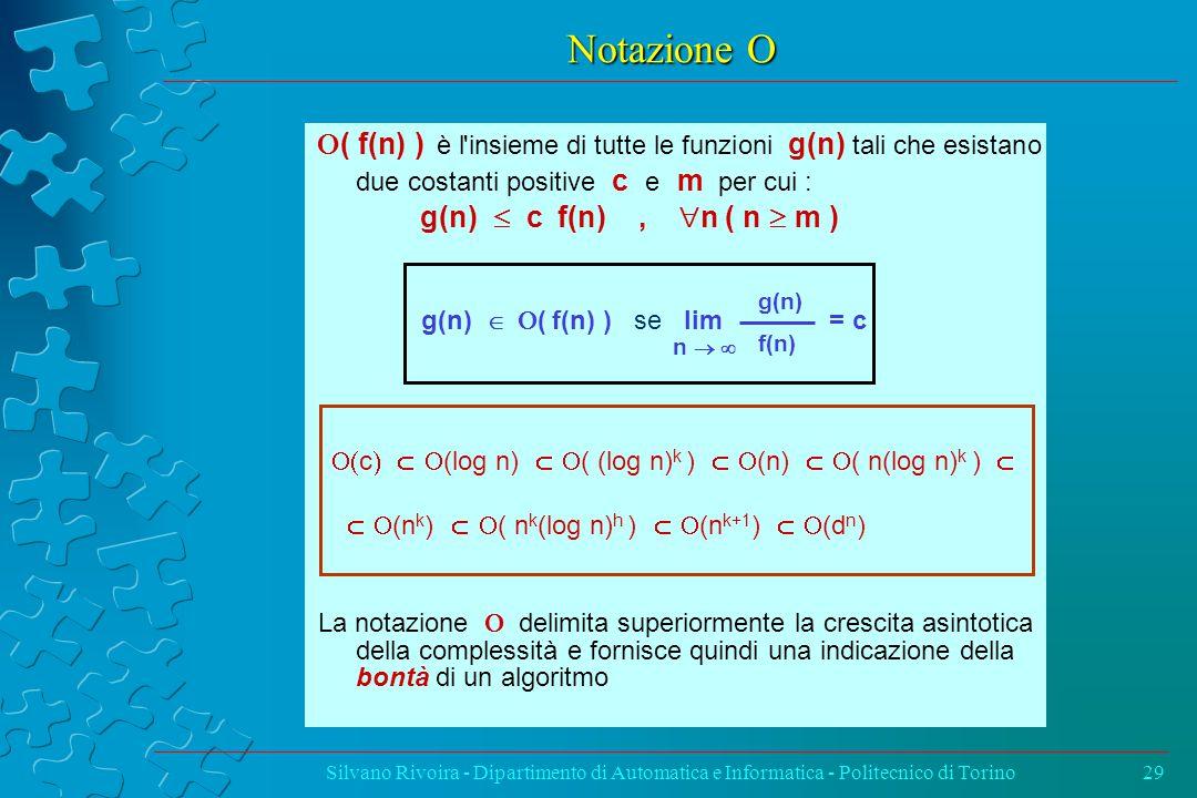 Notazione  Silvano Rivoira - Dipartimento di Automatica e Informatica - Politecnico di Torino29  ( f(n) ) è l insieme di tutte le funzioni g(n) tali che esistano due costanti positive c e m per cui : g(n)  c f(n),  n ( n  m ) g(n)   ( f(n) ) se lim = c La notazione  delimita superiormente la crescita asintotica della complessità e fornisce quindi una indicazione della bontà di un algoritmo g(n) f(n) n   c  (log n)  ( (log n) k )  (n)  ( n(log n) k )   (n k )  ( n k (log n) h )  (n k+1 )  (d n )