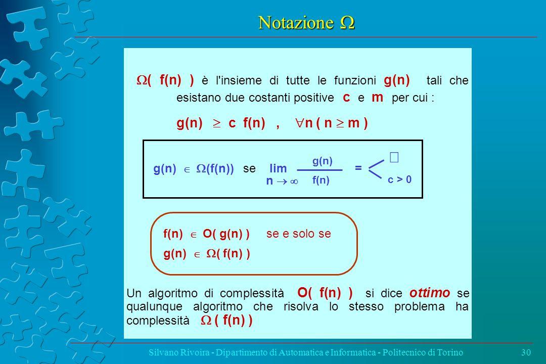 Notazione  Silvano Rivoira - Dipartimento di Automatica e Informatica - Politecnico di Torino30  ( f(n) ) è l insieme di tutte le funzioni g(n) tali che esistano due costanti positive c e m per cui : g(n)  c f(n),  n ( n  m ) g(n)   (f(n)) se lim = f(n)   O( g(n) ) se e solo se g(n)   ( f(n) ) Un algoritmo di complessità O( f(n) ) si dice ottimo se qualunque algoritmo che risolva lo stesso problema ha complessità  ( f(n) ) c > 0  g(n) f(n) n 
