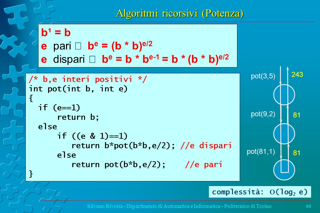Algoritmi ricorsivi (Potenza) Silvano Rivoira - Dipartimento di Automatica e Informatica - Politecnico di Torino46 /* b,e interi positivi */ int pot(int b, int e) { if (e==1) return b; else if ((e & 1)==1) return b*pot(b*b,e/2); //e dispari else return pot(b*b,e/2); //e pari } b¹ = b e pari  b e = (b * b) e/2 e dispari  b e = b * b e-1 = b * (b * b) e/2 pot(3,5) pot(9,2) pot(81,1) 243 81 complessità:  (log 2 e)