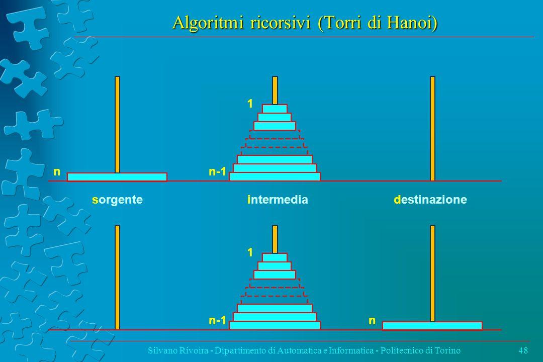 Algoritmi ricorsivi (Torri di Hanoi) Silvano Rivoira - Dipartimento di Automatica e Informatica - Politecnico di Torino48 sorgenteintermediadestinazione n 1 n-1 n 1