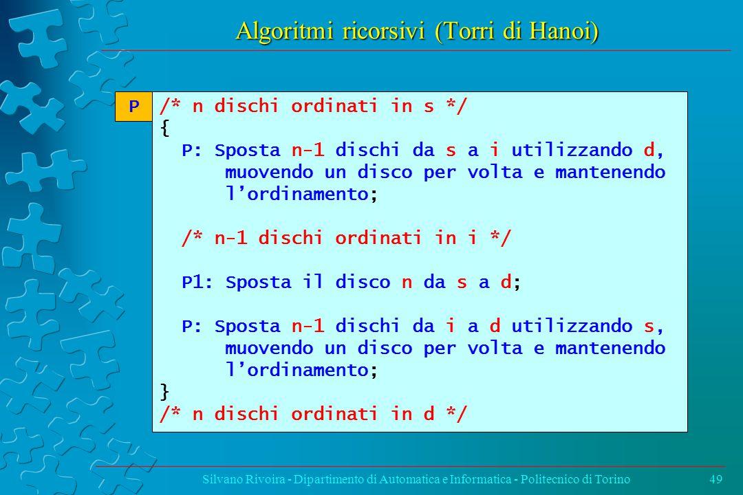 Algoritmi ricorsivi (Torri di Hanoi) Silvano Rivoira - Dipartimento di Automatica e Informatica - Politecnico di Torino49 /* n dischi ordinati in s */ { P: Sposta n-1 dischi da s a i utilizzando d, muovendo un disco per volta e mantenendo l'ordinamento; /* n-1 dischi ordinati in i */ P1: Sposta il disco n da s a d; P: Sposta n-1 dischi da i a d utilizzando s, muovendo un disco per volta e mantenendo l'ordinamento; } /* n dischi ordinati in d */ P