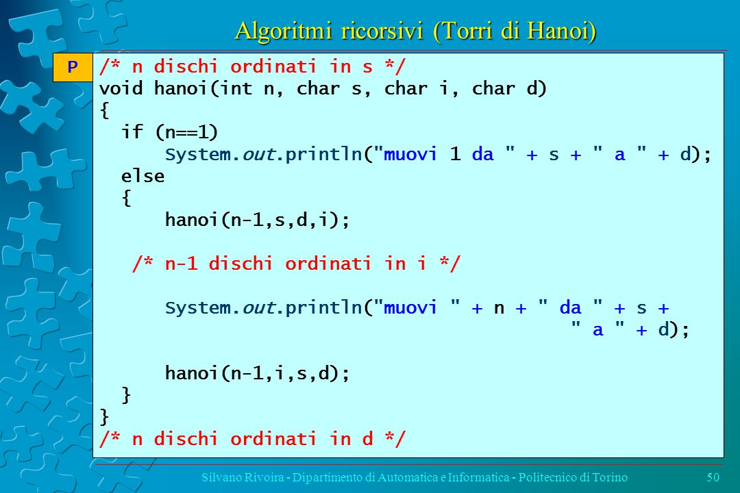 Algoritmi ricorsivi (Torri di Hanoi) Silvano Rivoira - Dipartimento di Automatica e Informatica - Politecnico di Torino50 /* n dischi ordinati in s */ void hanoi(int n, char s, char i, char d) { if (n==1) System.out.println( muovi 1 da + s + a + d); else { hanoi(n-1,s,d,i); /* n-1 dischi ordinati in i */ System.out.println( muovi + n + da + s + a + d); hanoi(n-1,i,s,d); } /* n dischi ordinati in d */ P