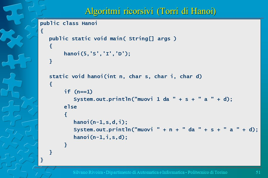 Algoritmi ricorsivi (Torri di Hanoi) Silvano Rivoira - Dipartimento di Automatica e Informatica - Politecnico di Torino51 public class Hanoi { public static void main( String[] args ) { hanoi(5, S , I , D ); } static void hanoi(int n, char s, char i, char d) { if (n==1) System.out.println( muovi 1 da + s + a + d); else { hanoi(n-1,s,d,i); System.out.println( muovi + n + da + s + a + d); hanoi(n-1,i,s,d); }