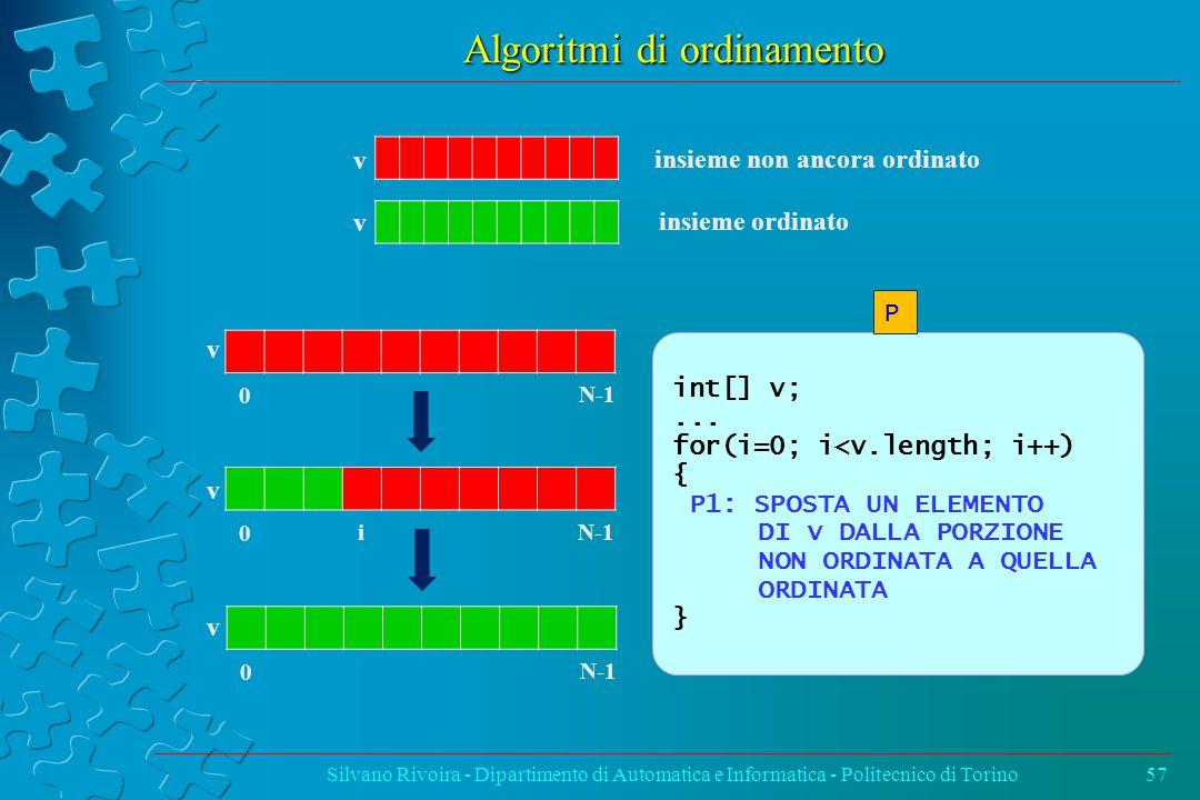 Algoritmi di ordinamento Silvano Rivoira - Dipartimento di Automatica e Informatica - Politecnico di Torino57 v 0 N-1 v v 0 0 i insieme non ancora ordinato insieme ordinato int[] v;...