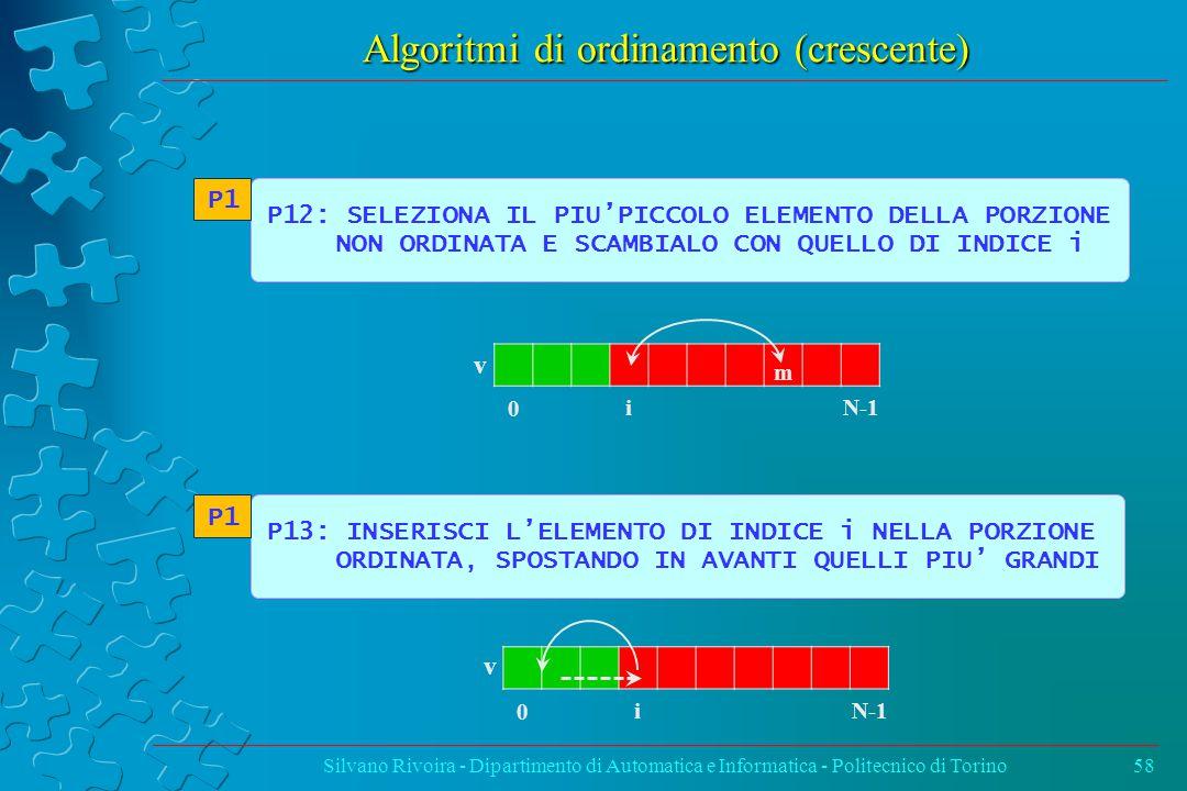 Algoritmi di ordinamento (crescente) Silvano Rivoira - Dipartimento di Automatica e Informatica - Politecnico di Torino58 P12: SELEZIONA IL PIU'PICCOLO ELEMENTO DELLA PORZIONE NON ORDINATA E SCAMBIALO CON QUELLO DI INDICE i P1 P13: INSERISCI L'ELEMENTO DI INDICE i NELLA PORZIONE ORDINATA, SPOSTANDO IN AVANTI QUELLI PIU' GRANDI P1 v 0 N-1 i m v 0 i