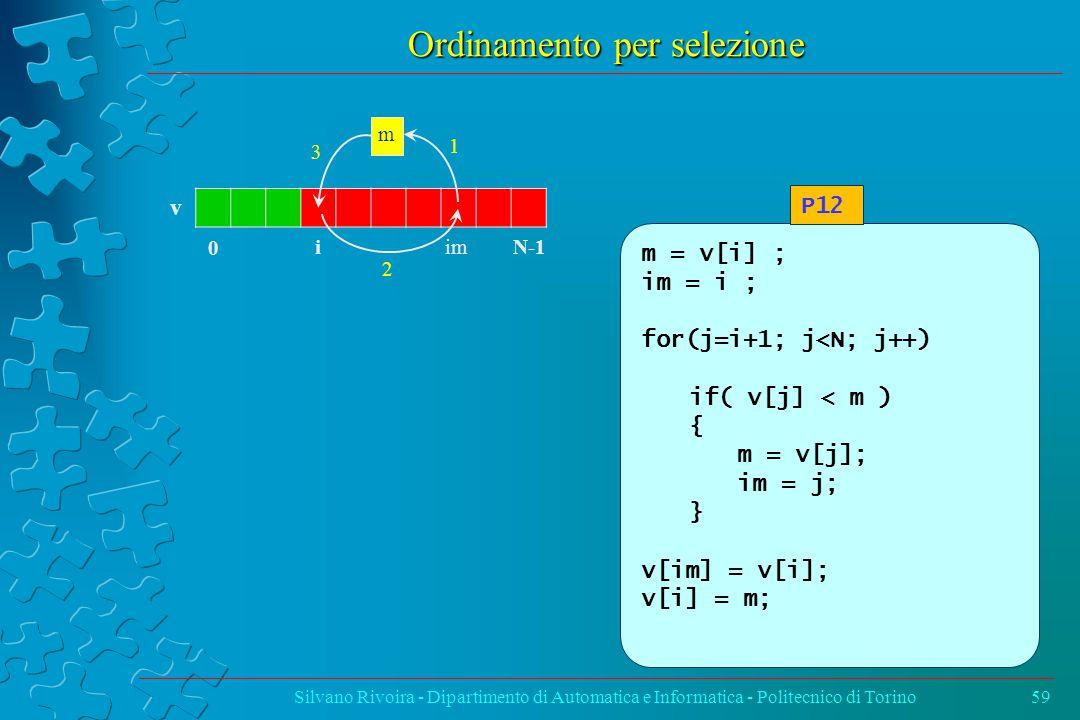 Ordinamento per selezione Silvano Rivoira - Dipartimento di Automatica e Informatica - Politecnico di Torino59 m = v[i] ; im = i ; for(j=i+1; j<N; j++) if( v[j] < m ) { m = v[j]; im = j; } v[im] = v[i]; v[i] = m; P12 v 0 N-1 i im m 1 3 2