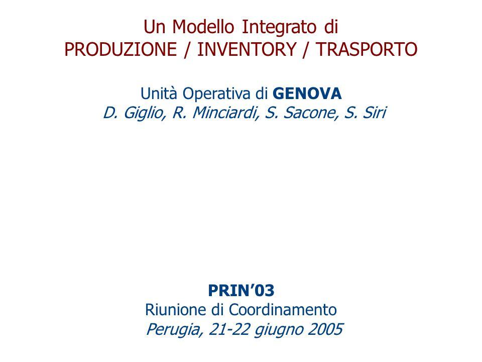 Un Modello Integrato di PRODUZIONE / INVENTORY / TRASPORTO Unità Operativa di GENOVA D.