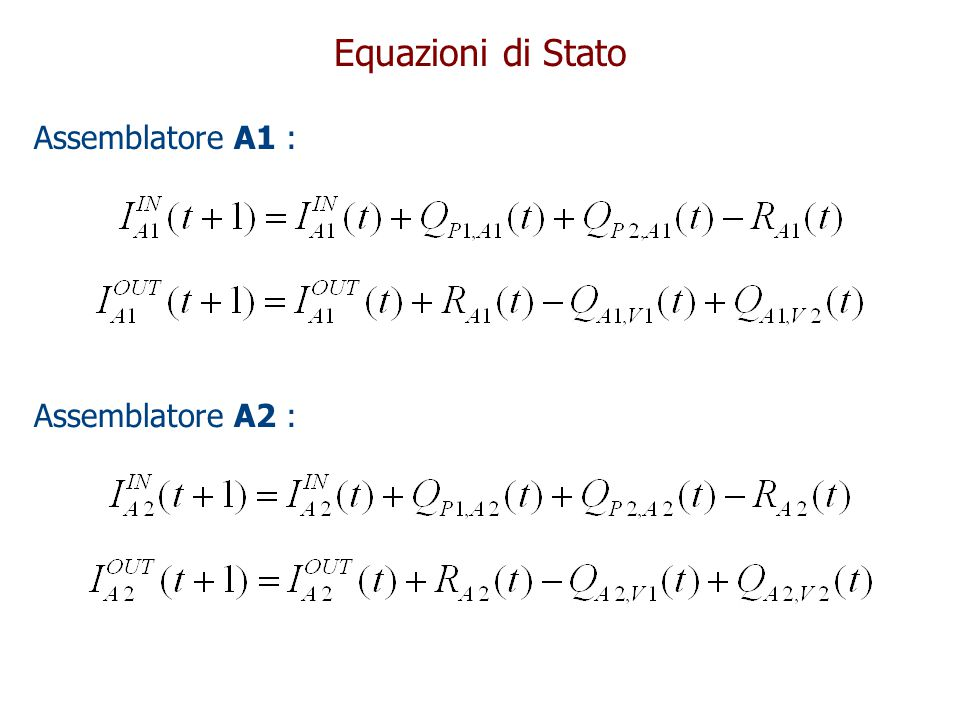 Equazioni di Stato Assemblatore A1 : Assemblatore A2 :