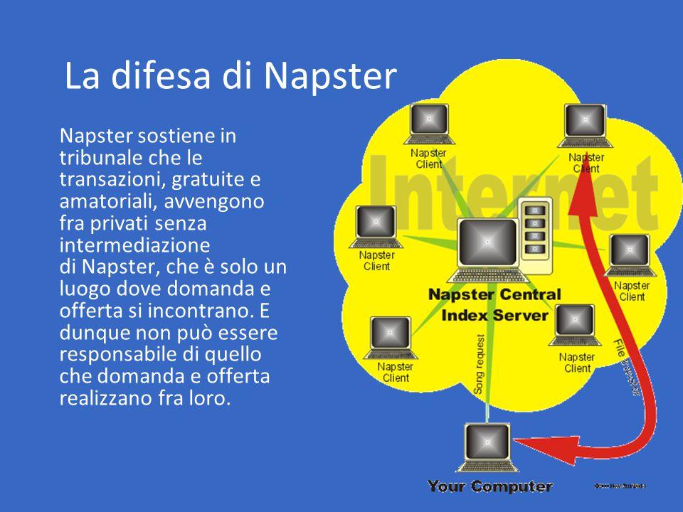 La difesa di Napster Napster sostiene in tribunale che le transazioni, gratuite e amatoriali, avvengono fra privati senza intermediazione di Napster, che è solo un luogo dove domanda e offerta si incontrano.