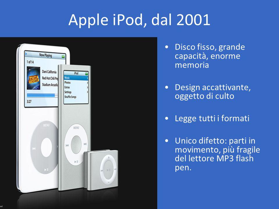 Disco fisso, grande capacità, enorme memoria Design accattivante, oggetto di culto Legge tutti i formati Unico difetto: parti in movimento, più fragile del lettore MP3 flash pen.