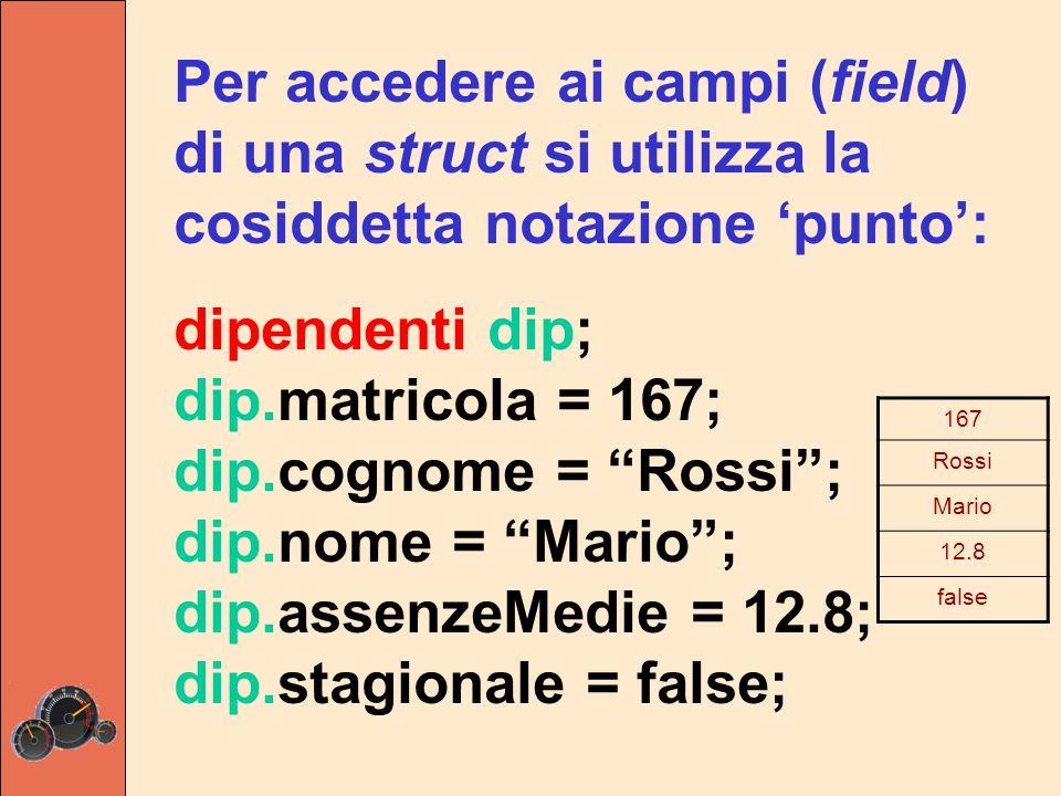 Per accedere ai campi (field) di una struct si utilizza la cosiddetta notazione 'punto': dipendenti dip; dip.matricola = 167; dip.cognome = Rossi ; dip.nome = Mario ; dip.assenzeMedie = 12.8; dip.stagionale = false; 167 Rossi Mario 12.8 false
