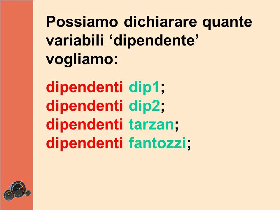 Possiamo dichiarare quante variabili 'dipendente' vogliamo: dipendenti dip1; dipendenti dip2; dipendenti tarzan; dipendenti fantozzi;