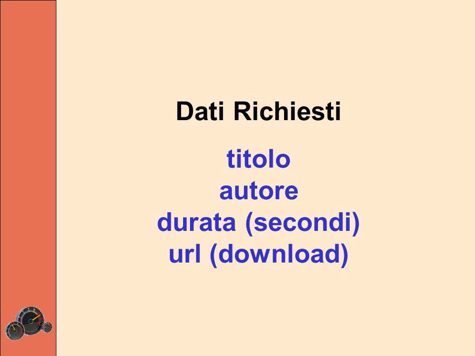 Dati Richiesti titolo autore durata (secondi) url (download)