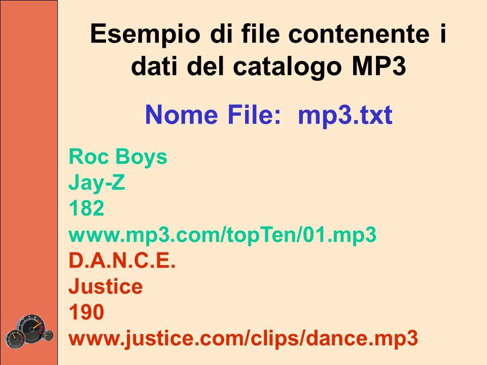 Esempio di file contenente i dati del catalogo MP3 Nome File: mp3.txt Roc Boys Jay-Z 182 www.mp3.com/topTen/01.mp3 D.A.N.C.E. Justice 190 www.justice.