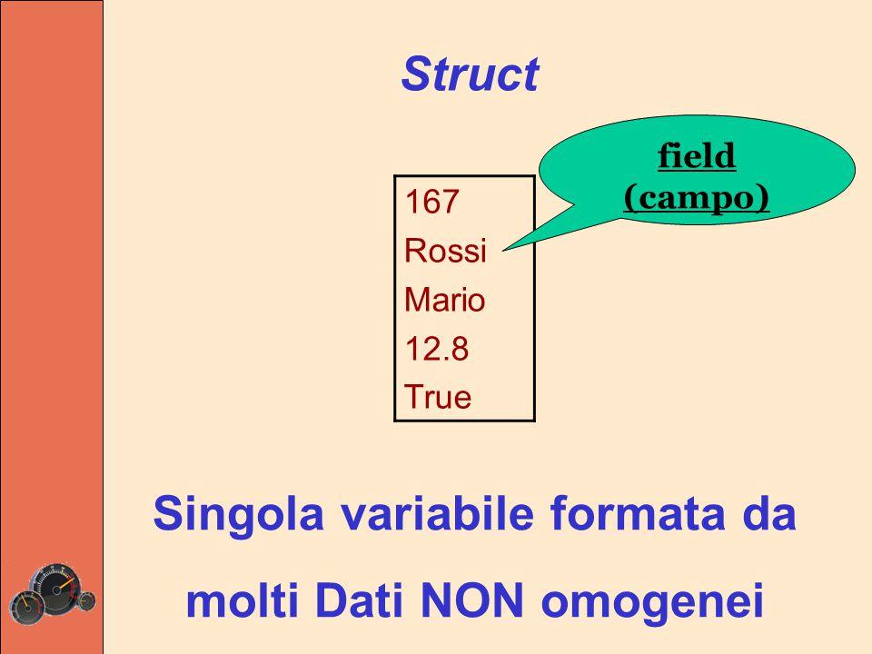 Struct Singola variabile formata da molti Dati NON omogenei 167 Rossi Mario 12.8 True field (campo)