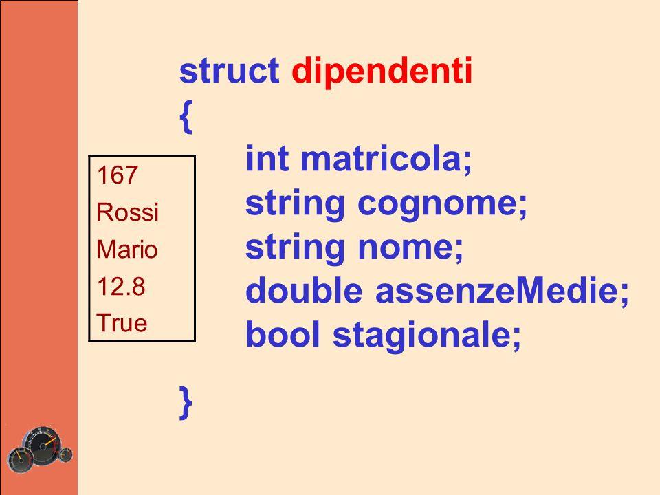 struct dipendenti { int matricola = 0; string cognome = ; string nome; double assenzeMedie; bool stagionale; } ISO C++ proibisce l'inizializzazione