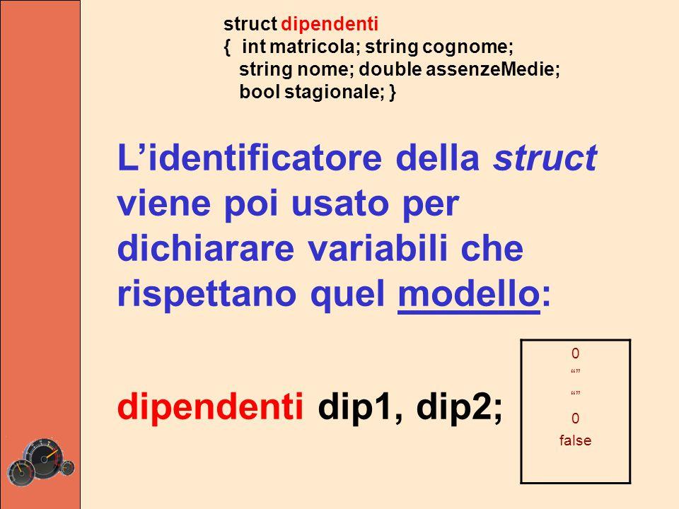 struct dipendenti { int matricola; string cognome; string nome; double assenzeMedie; bool stagionale; } L'identificatore della struct viene poi usato