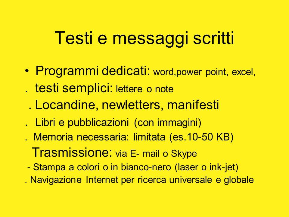 Testi e messaggi scritti Programmi dedicati: word,power point, excel,. testi semplici: lettere o note. Locandine, newletters, manifesti. Libri e pubbl