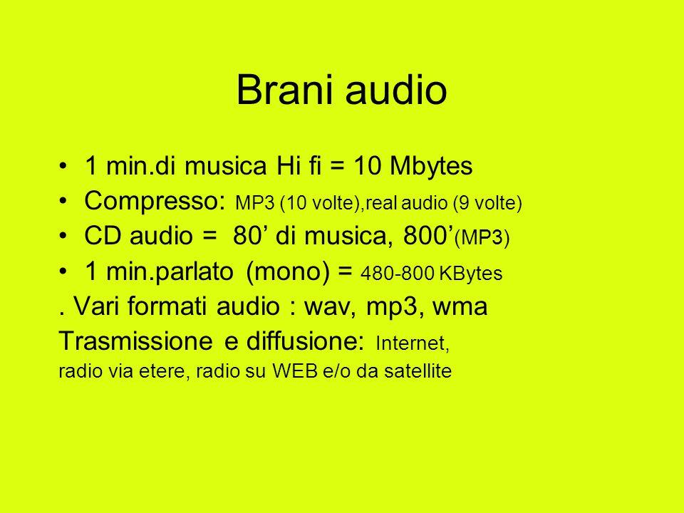 Brani audio 1 min.di musica Hi fi = 10 Mbytes Compresso: MP3 (10 volte),real audio (9 volte) CD audio = 80' di musica, 800' (MP3) 1 min.parlato (mono) = 480-800 KBytes.