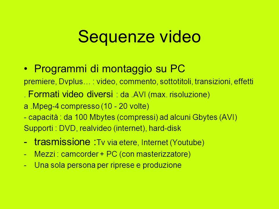 Sequenze video Programmi di montaggio su PC premiere, Dvplus… : video, commento, sottotitoli, transizioni, effetti.