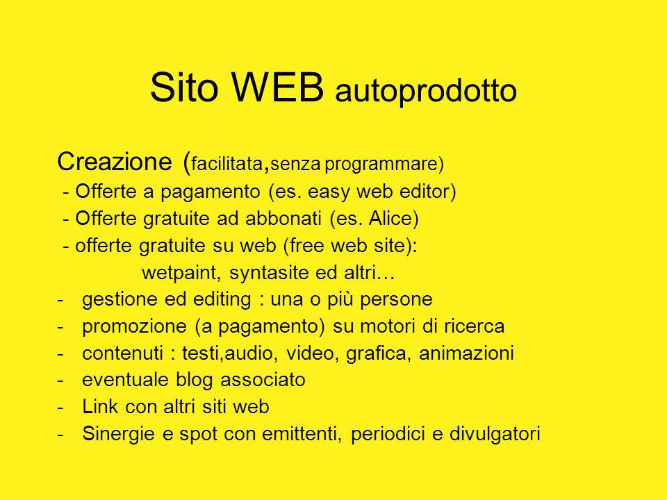 Sito WEB autoprodotto Creazione ( facilitata, senza programmare) - Offerte a pagamento (es. easy web editor) - Offerte gratuite ad abbonati (es. Alice