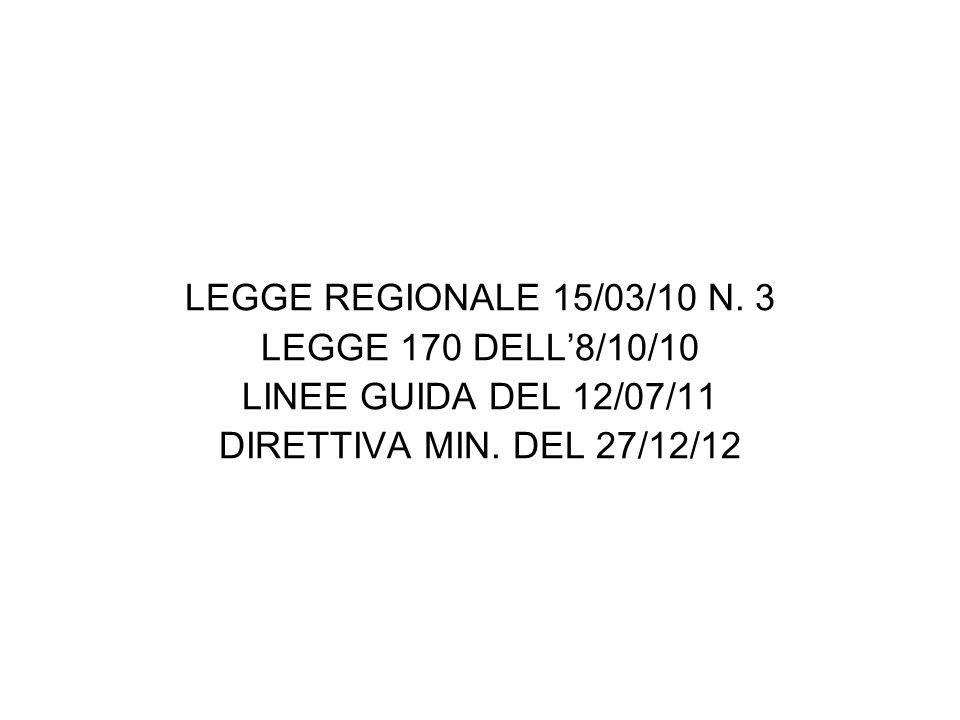LEGGE REGIONALE 15/03/10 N.3 LEGGE 170 DELL'8/10/10 LINEE GUIDA DEL 12/07/11 DIRETTIVA MIN.