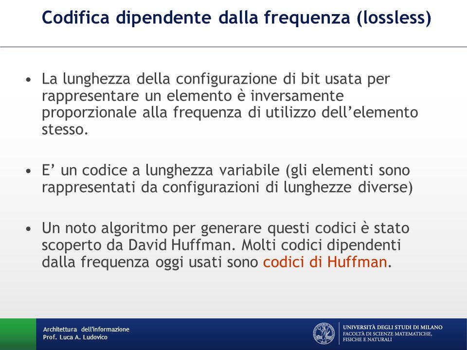 Codifica dipendente dalla frequenza (lossless) La lunghezza della configurazione di bit usata per rappresentare un elemento è inversamente proporzionale alla frequenza di utilizzo dell'elemento stesso.