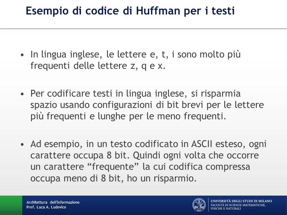Esempio di codice di Huffman per i testi Architettura dell'informazione Prof. Luca A. Ludovico In lingua inglese, le lettere e, t, i sono molto più fr