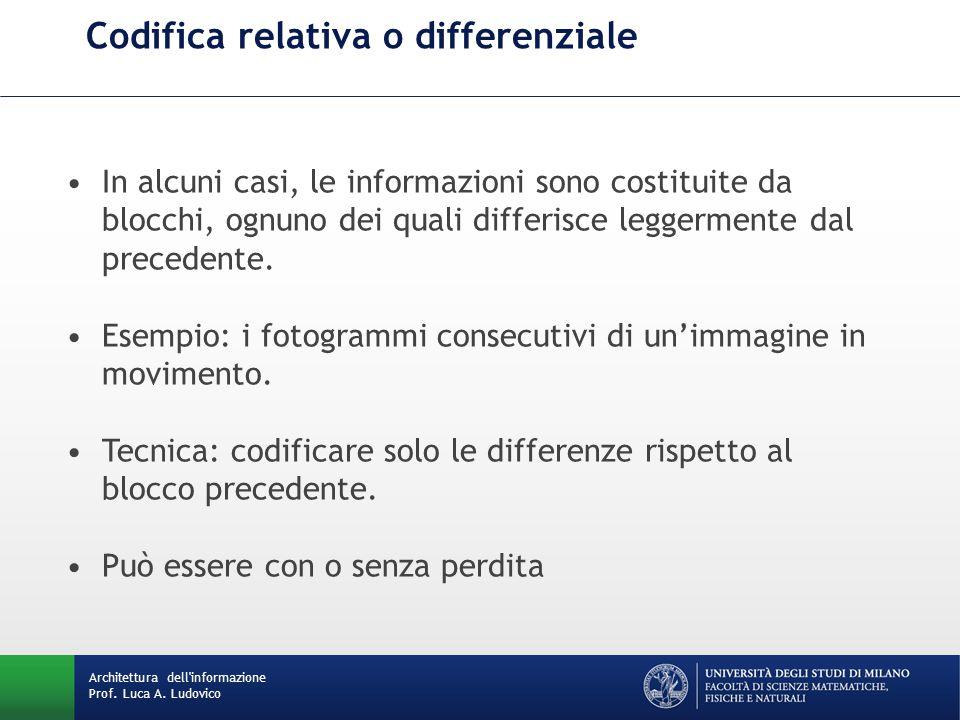 Codifica relativa o differenziale Architettura dell'informazione Prof. Luca A. Ludovico In alcuni casi, le informazioni sono costituite da blocchi, og