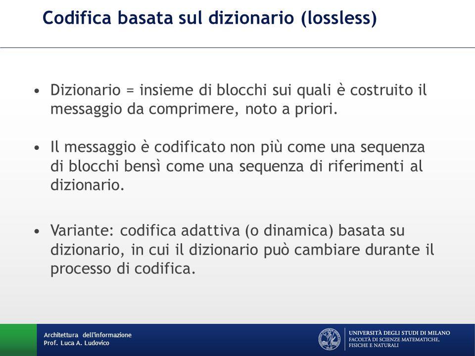 Codifica basata sul dizionario (lossless) Architettura dell'informazione Prof. Luca A. Ludovico Dizionario = insieme di blocchi sui quali è costruito