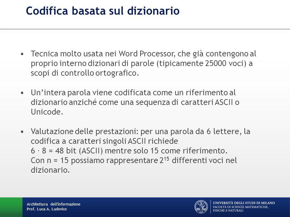 Codifica basata sul dizionario Architettura dell'informazione Prof. Luca A. Ludovico Tecnica molto usata nei Word Processor, che già contengono al pro