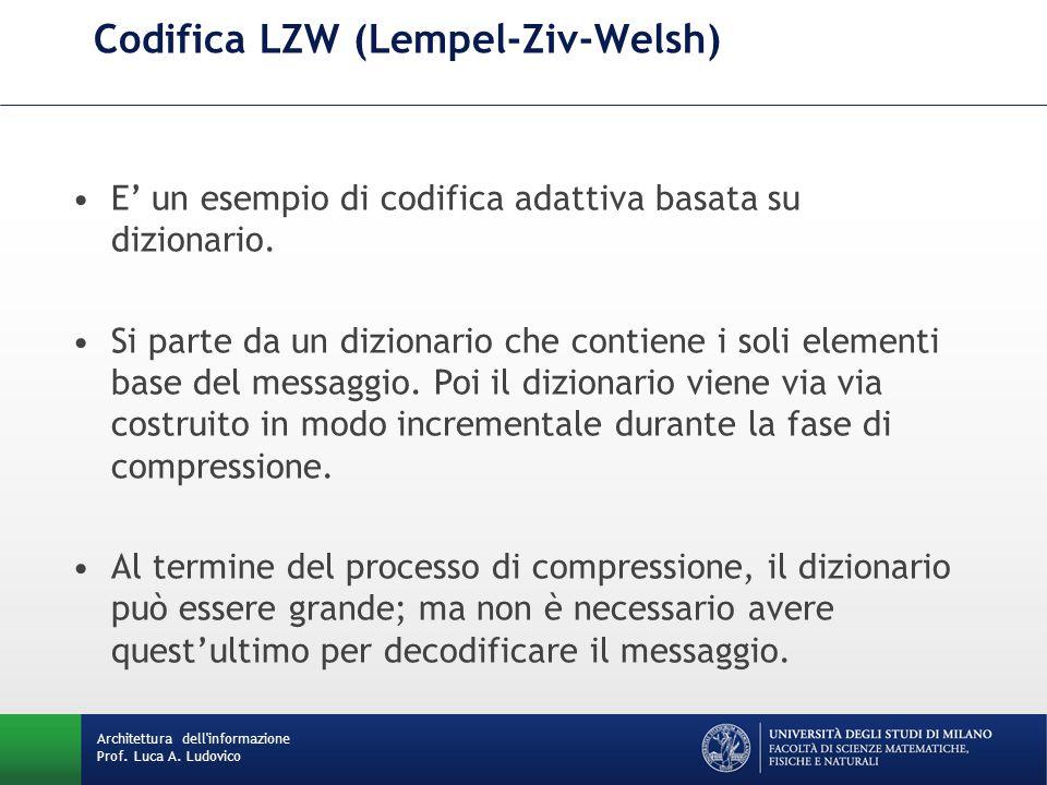 Codifica LZW (Lempel-Ziv-Welsh) Architettura dell'informazione Prof. Luca A. Ludovico E' un esempio di codifica adattiva basata su dizionario. Si part